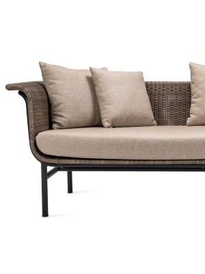 Vincent Sheppard Wicked 3 zits Outdoor Lounge Bank - Taupe Rotan - Savane Cocunut