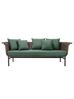 Vincent Sheppard Wicked 3-Zits Outdoor Lounge Bank - Taupe Rotan - Forest Green kussens
