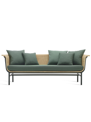 Vincent Sheppard Wicked 3 zits Outdoor Lounge Bank - Naturel Rotan - Forest Green kussens