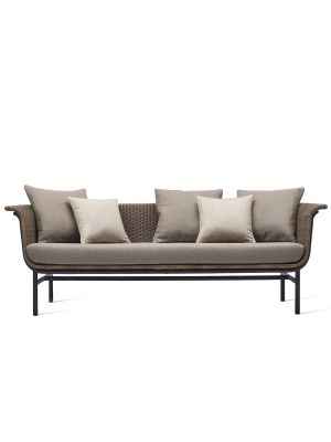 Vincent Sheppard Wicked 3 zits Outdoor Lounge Bank - Taupe Rotan - Lopi Cocunut