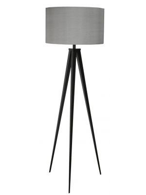 Zuiver Vloerlamp Tripod - H157 cm - Zwart - Grijze Lampenkap