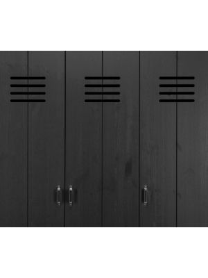 vtwonen Lockerkast 3-Deurs - B123 x D40 x H186 cm - Grenenhout Zwart