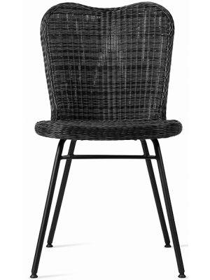 Vincent Sheppard Lena Dining Chair - Tuinstoel - RVS Onderstel - Zitting Wicker - Zwart
