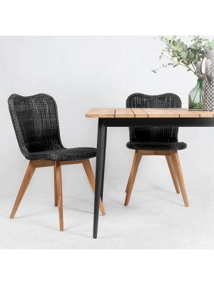 Vincent Sheppard Lena Dining Chair - Tuinstoel - Teak Onderstel - Zitting Wicker - Zwart