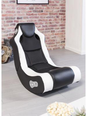 24Designs Racer - Racestoel Gamestoel - Bluetooth & Speakers - Zwart / Wit
