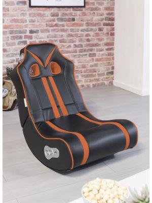 24Designs Racestoel Gamestoel Monaco - Bluetooth & Speakers - Zwart / Oranje