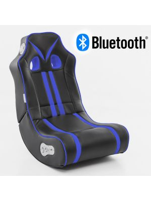 24Designs Racestoel Gamestoel Monaco - Bluetooth & Speakers - Zwart / Blauw