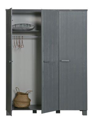 WOOOD Dennis Kast 3-Deurs - Grenen Geborsteld - Steel Grey