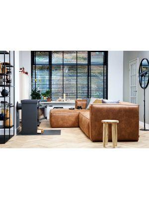 WOOOD Bean Hoekbank Links Breedte 305 cm - Cognac Recycle Leer