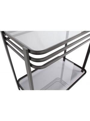 WOOOD Kylie Bijzettafel - 60x36x51 - Zwart Metaal en Glas