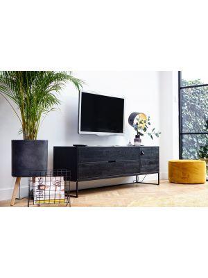 WOOOD Silas TV Meubel Zwart - B180 x D44 x H61 cm - Essenhout Geborsteld Blacknigh