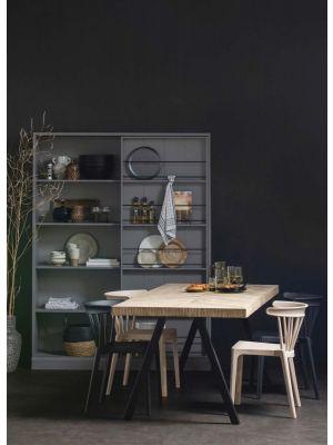 WOOOD Tablo Visgraat Eettafel - B200xD90xH75 cm- Mangohout met 2-Standen Poot