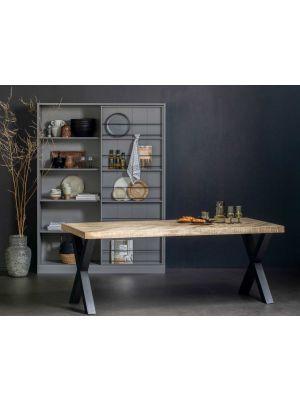 WOOOD Tablo Visgraat Eettafel - B200xD90xH75 cm - Mangohout met Alkmaar Poot