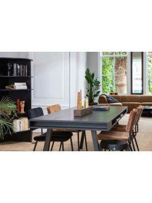WOOOD Trian Eettafel - 220x90x76 - Essenhout met A-poten Metaal Zwart