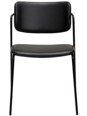 Dan-Form Zed Eetkamerstoel – Set van 2 - Zwart Kunstleer – Zwart Metalen Poten
