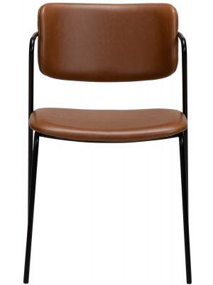 Dan-Form Zed Eetkamerstoel – Set van 2 - Cognac Kunstleer – Zwart Metalen Poten