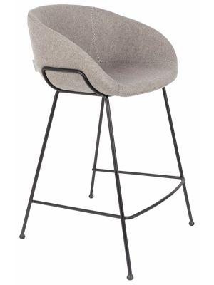 Zuiver Set (2) Barstoelen Feston Zithoogte 65 cm - Stof Grijs