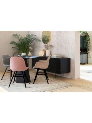 Zuiver Albert Kuip Stoel Armleuningen - Set van 2 - Soft Pink Stof - Zwart Houten Onderstel