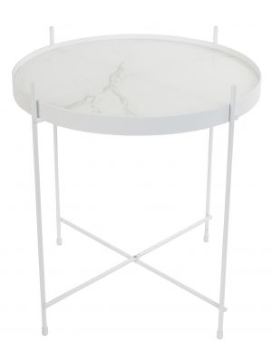 Zuiver Bijzettafel Cupid Marble - Ø43 x H45 cm - Wit