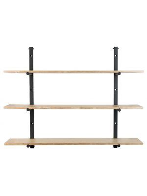 Zuiver Bundy Wandplanken Kast - B115 x D22 x H90 cm - Hout en Zwart Metaal