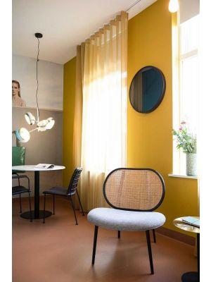 Zuiver Spike Lounge Fauteuil - Naturel Rotan - Stof Grijs - Zwarte Metalen Poten