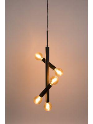 Zuiver Hawk Hanglamp Tall 5-Lichts - B39 x D17 x H222 cm - Mat Zwart Metaal