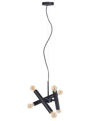 Zuiver Hawk Hanglamp Triple 6-Lichts - B39 x D17 x H170 cm - Mat Zwart Metaal