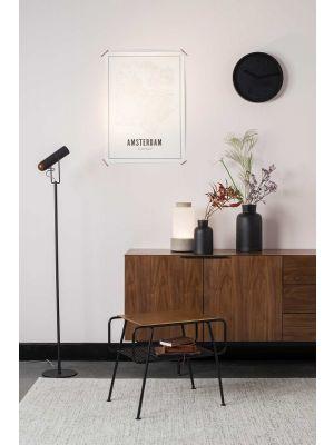 Zuiver Marlon Vloerlamp - Hoogte 134.5 cm - Zwart - Walnoot