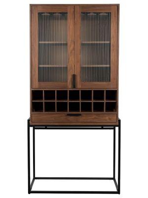 Zuiver Travis Wijnkast en Vitrinekast - B88,5 x D46,5 x H180,5 cm - Walnoot
