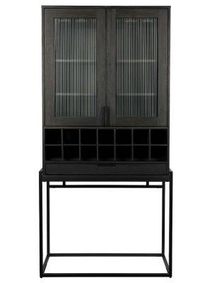Zuiver Travis Wijnkast en Vitrinekast - B88,5 x D46,5 x H180,5 cm - Zwart Eiken
