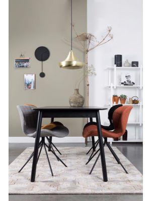 Zuiver Uitschuifbare Tafel Glimps - 120/162x80x76 - Zwart gebeitst Essenhout