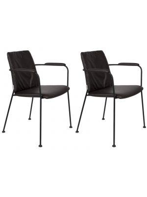 Zuiver FAB Stoel Armleuningen - Set van 2 - Kunstleer Zwart - Zwart Metalen Frame