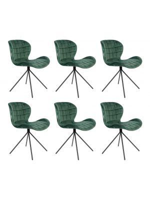 Zuiver OMG Velvet Stoel Groen *Limited Edition* - Set van 6 Aanbieding - met Gratis vloerdoppen twv €52,41