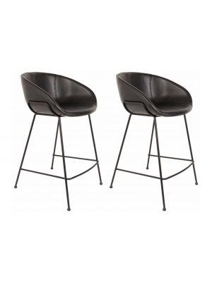 Zuiver Set (2) Barstoelen Feston Zithoogte 65 cm - Kunstleer Zwart