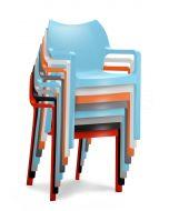 24Designs Diva Stoel - Armleuning - Stapelbaar - Set van 4 - Bundel