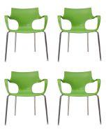 24Designs Set (4) Stoelen Jim - Armleuningen - Groen