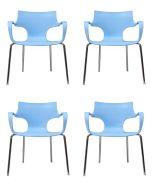 24Designs Set (4) Stoelen Jim - Armleuningen - Lichtblauw