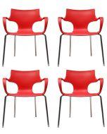 24Designs Set (4) Stoelen Jim - Armleuningen - Rood