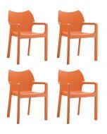 24Designs Set (4) Tuinstoelen Diva Stapelbaar - Oranje