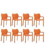 24Designs Set (8) Tuinstoelen Diva Stapelbaar - Oranje