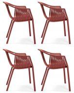 Pedrali Stapelbare Stoel Tatami 306 Set van 4 - Armleuningen - Rood
