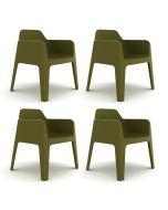 Pedrali Plus 630 Tuinstoel - Set van 4 - Groen