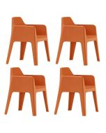 Pedrali Plus 630 Tuinstoel - Set van 4 - Oranje