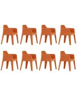 Pedrali Plus 630 Tuinstoel - Set van 8 - Oranje