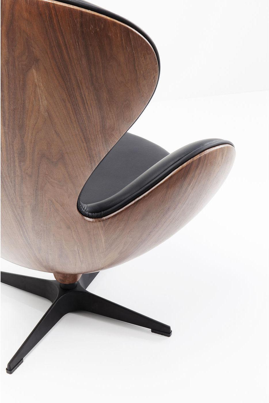 Kare Design - Draaibare Fauteuil Lounge - Zwart Kunstleer - Walnoot