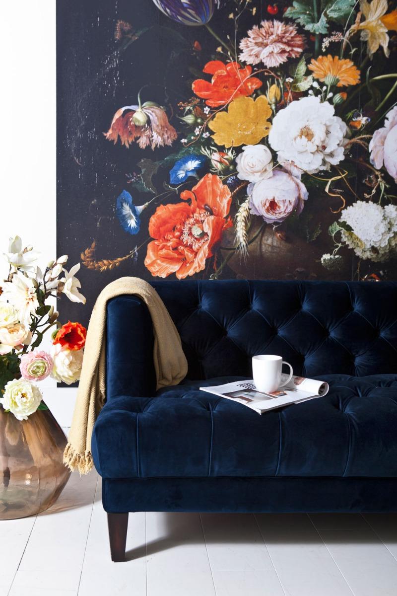 Eleonora Vogue Velours Bank 3 Zits - B214 Cm - Blauw Fluweel