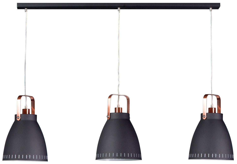 ETH Hanglamp Acate - Balk - 3-Lichts - Zwart/koper Kleur