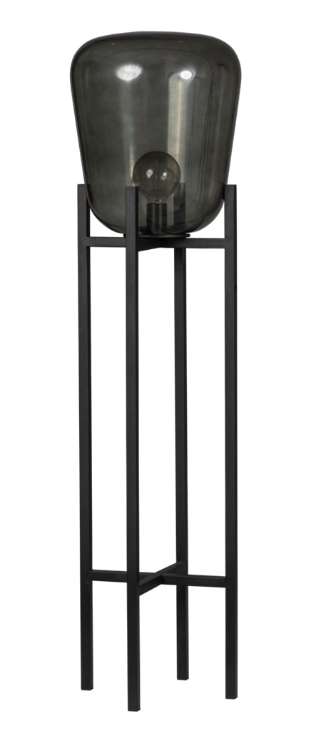 ETH Vloerlamp Benn - H115 Cm -Ø33 Cm - Rookglas En Zwart Metaal