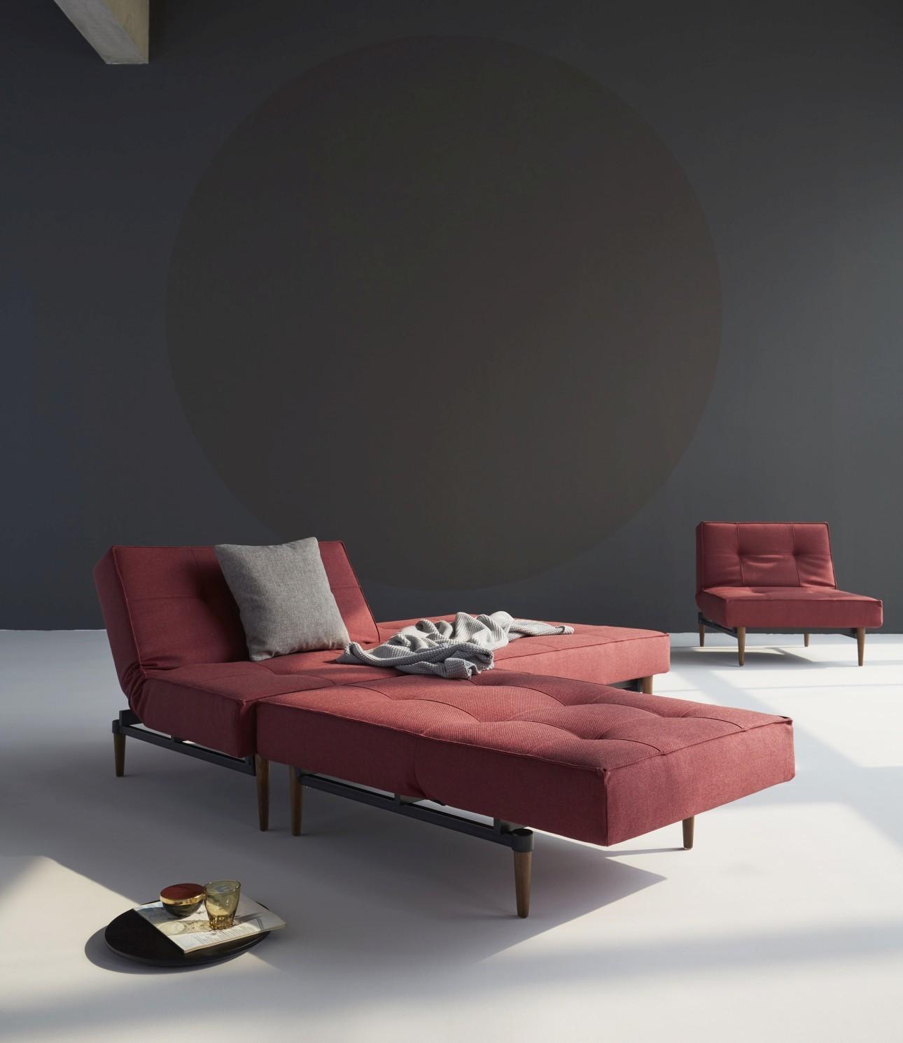 Innovation Slaapbank Splitback - Styletto Poten Donker - Twist Rust Red 561