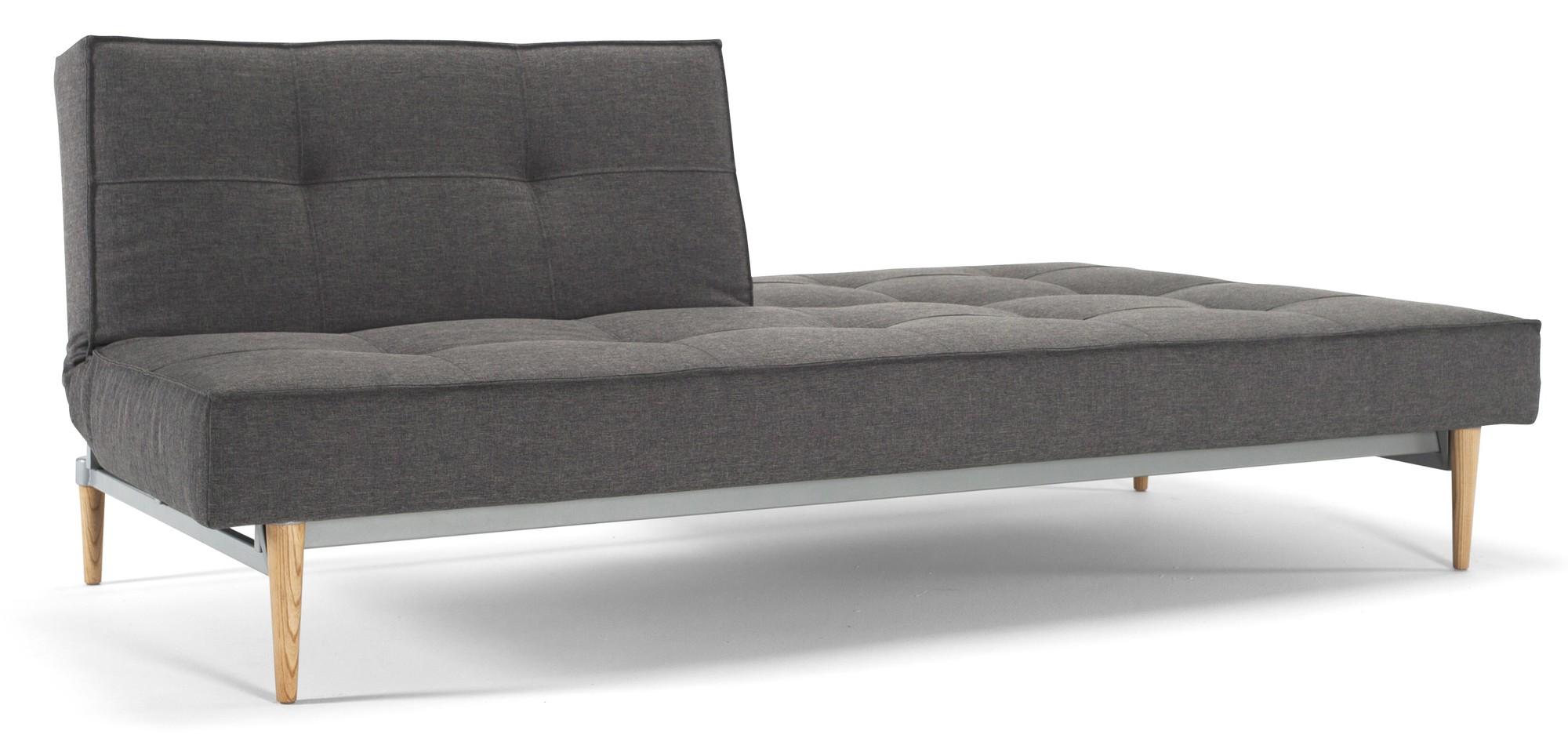 Innovation Slaapbank Splitback - Flashtex Dark Grey 216 - Styletto Poten Licht